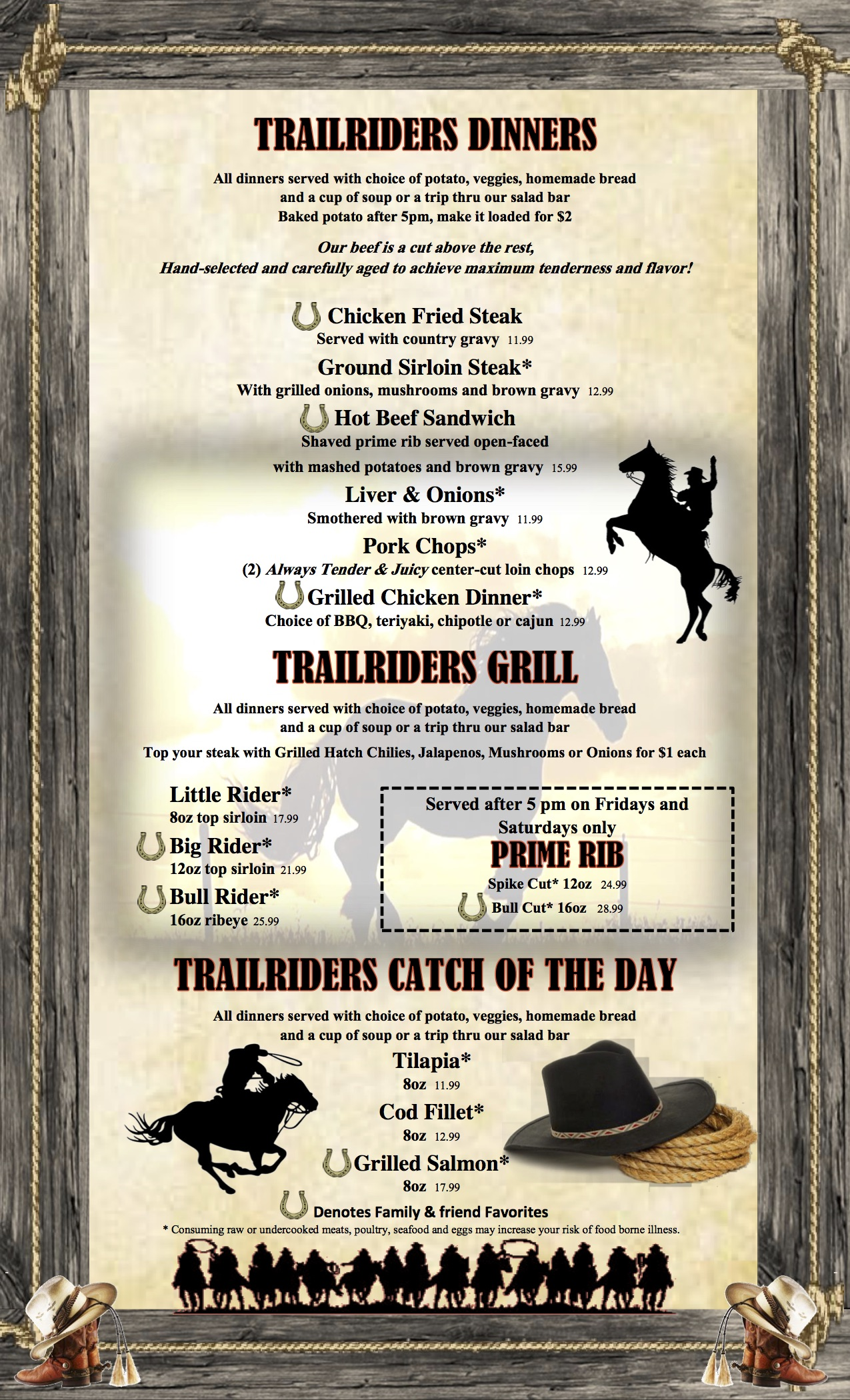 Trailriders Family Restaurant And Bar 140 N Main St Eagar Az Animal M Stak 21 Serving Download Our Lunch Dinner Menu Pdf